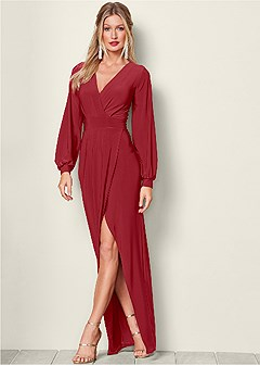 surplice detail long dress