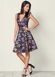 Front View V-Neck Flare Dress