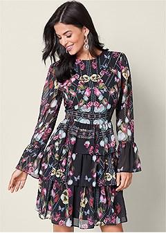 print tier ruffle dress
