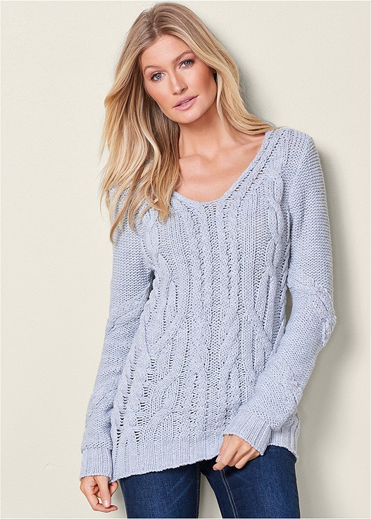 Venus Cable Knit V Neck Sweater In Grey