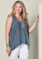 plus size lace v-neck high low top