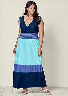 plus size ombre maxi dress