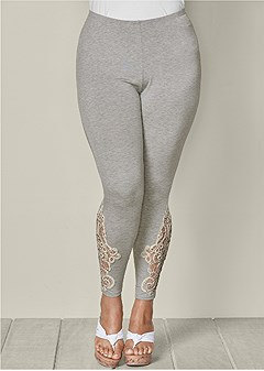 plus size crochet detail leggings