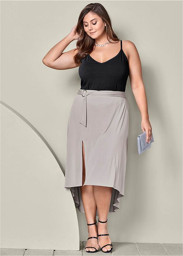 Belted High Low Maxi Skirt,High Heel Strappy Sandals