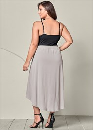 Back view Belted High Low Maxi Skirt