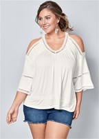 plus size cold shoulder lace trim top