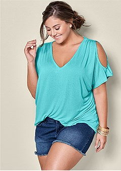 plus size cold shoulder v-neck top