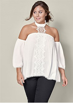 plus size lace choker detail blouse