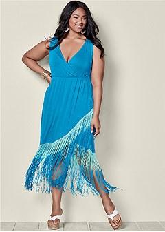 127e639bcf0 plus size fringe bottom dress