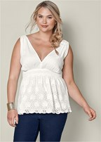 plus size eyelet babydoll top