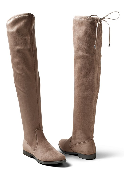 OVER THE KNEE STRETCH BOOT,ASYMMETRICAL BUTTON JACKET,COLOR SKINNY JEANS