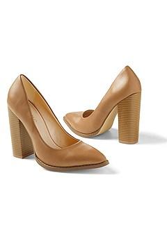 pointy toe chunky heel pump
