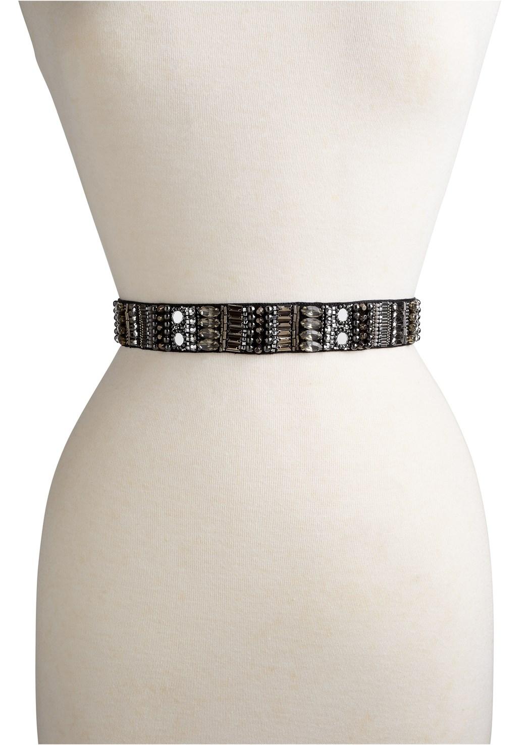 Rhinestone Tie Detail Belt,Lace Detail Dress,High Heel Strappy Sandals