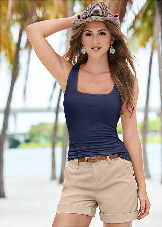 SQUARE NECK TANK TOP,BELTED CUFFED SHORTS,KISSABLE STRAPPY PUSH UP
