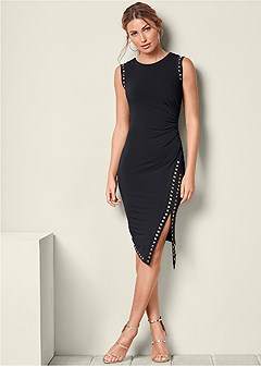 embellished ruched dress