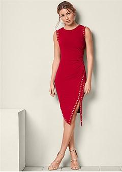 embellished ruched dress