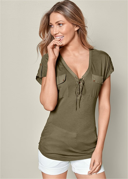 LACE UP SHORT SLEEVE TOP,BELTED CUFFED SHORTS,PANAMA HAT