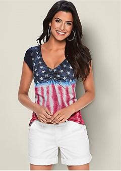 short sleeve flag top