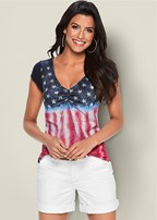 short sleeve flag top