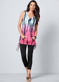 Front view Hooded Tie Dye Tunic Top