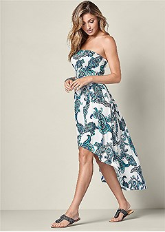 strapless print dress