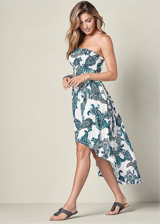 Strapless Print Dress Rhinestone Flat
