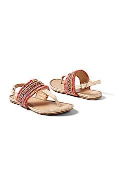 beaded fray detail sandal