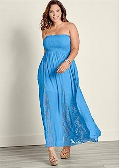 plus size lace detailed maxi dress