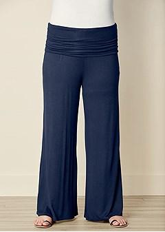 plus size easy foldover pants