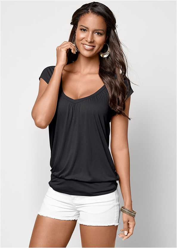 Relaxed V-Neck Top,Frayed Cut Off Jean Shorts
