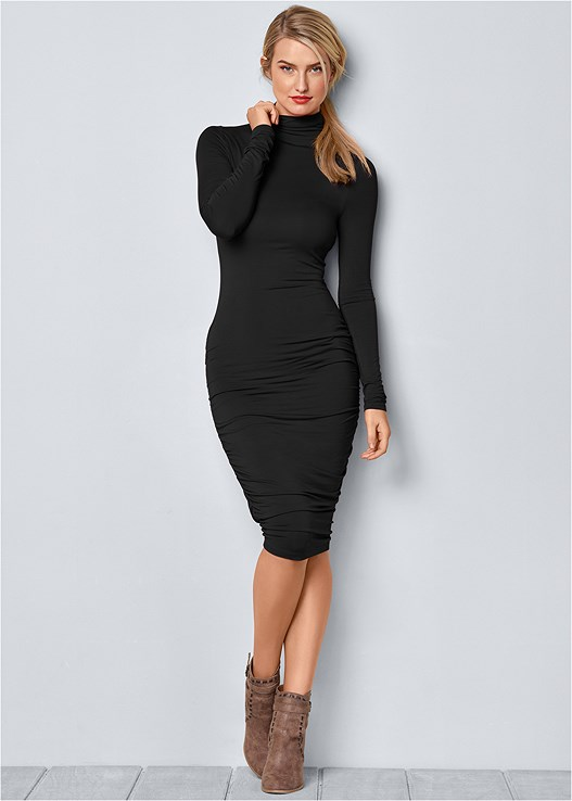 LONG SLEEVE RUCHED DRESS,CONFIDENCE TUMMY SHAPER,HIGH HEEL STRAPPY SANDALS,WRAP STITCH DETAIL BOOTIES,RHINESTONE CLUTCH