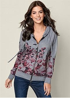 floral zip up hoodie