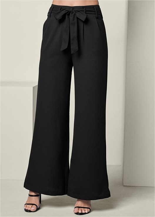 BELTED WIDE LEG PANTS,SEAMLESS MOCK NECK TOP,HIGH HEEL STRAPPY SANDAL,TWO TONE CHAIN NECKLACE