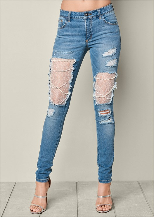 Lace And Pearl Ripped Jeans In Medium Wash Venus