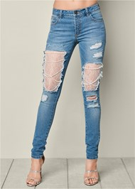 Alternate View Lace And Pearl Ripped Jeans