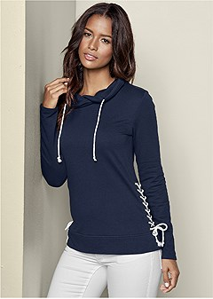 side lace up sweatshirt
