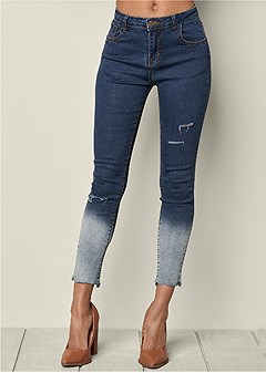 ombre ripped jeans