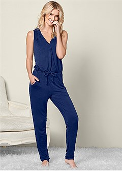 plus size surplice lounge jumpsuit