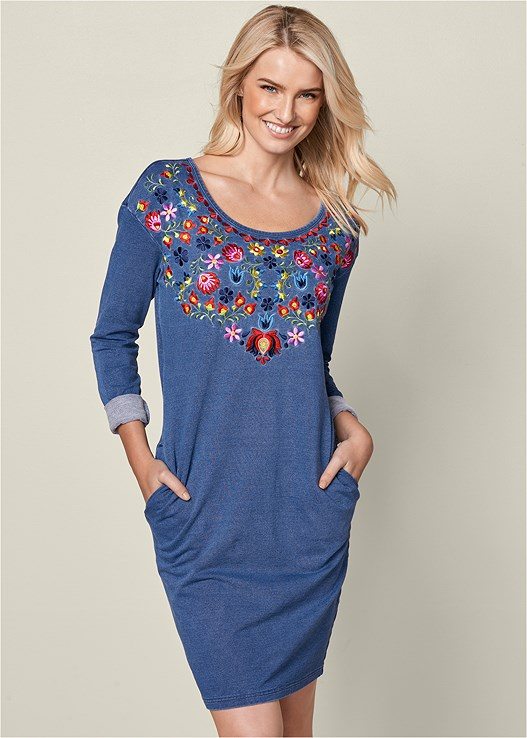 EMBROIDERED TERRY DRESS