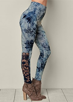 tie dye lace leggings
