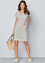 striped french terry dress