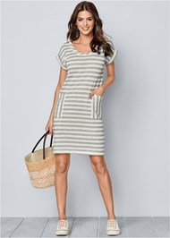 Front view Striped French Terry Dress