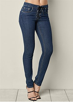 faux leather lace up jeans