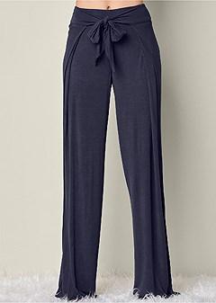 tie front wide leg pant