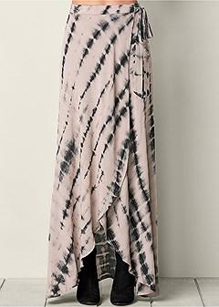 tie dye wrap maxi skirt