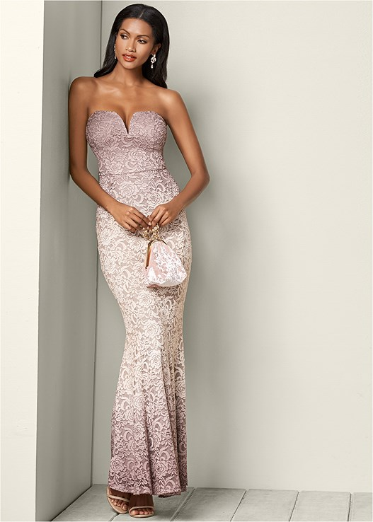 OMBRE LACE LONG DRESS,FULL FIGURE STRAPLESS BRA,HIGH HEEL STRAPPY SANDALS,LUCITE DETAIL HEELS
