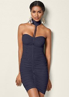 neck detail bodycon dress