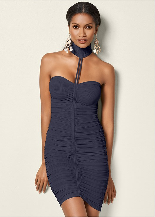 NECK DETAIL BODYCON DRESS,HIGH HEEL STRAPPY SANDALS