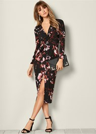 Front View Floral Dress With Slit