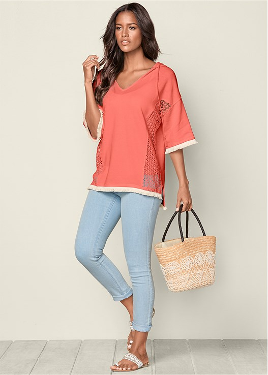 LACE AND TASSEL TRIM HOODIE,BASIC V-NECK TANK,COLOR SKINNY JEANS